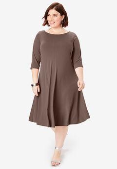 Ultrasmooth® Boatneck Swing Dress, RICH BROWN