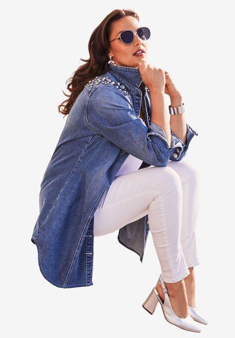 Rhinestone Denim Jacket Plus Size Jackets Blazers Roamans