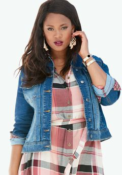 Cuffed Denim Jacket by Denim 24/7®,