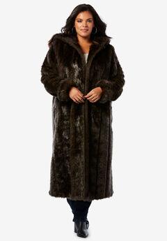 Full Length Faux-Fur Coat with Hood,