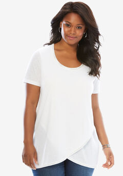 Beaded Tee with High-Low Hem, WHITE, hi-res