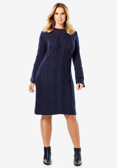 Sweater Dress with Tiered Bell Sleeves,