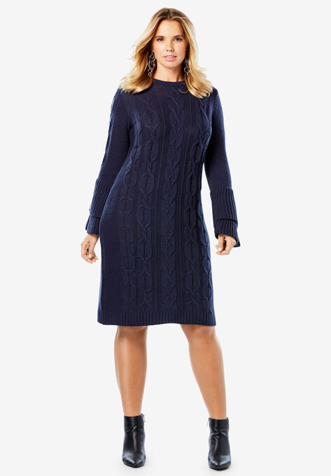 Sweater Dress with Tiered Bell Sleeves| Plus Size Casual Dresses ...