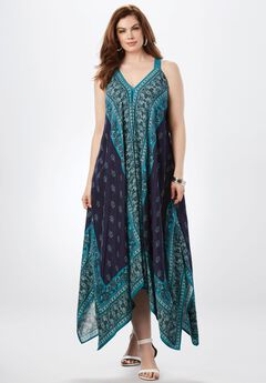 Scarf Print Maxi Dress By Denim 24/7, TEAL PAISLEY SCARF