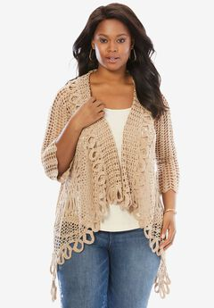 Crochet Starburst-Stitch Cardigan, NEW KHAKI, hi-res