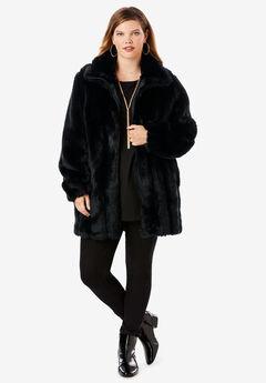 Short Faux-Fur Coat, BLACK, hi-res
