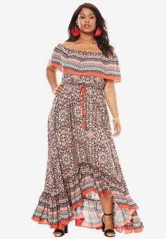 Ruffle Maxi Dress, SMALL PAISLEY PRINT, hi-res