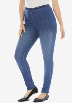 Skinny-Leg Pull-On Stretch Jean, MEDIUM STONEWASH SANDED