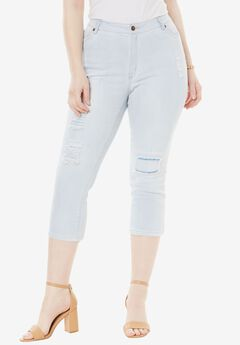 Distressed Capri Jean with Invisible Stretch® by Denim 24/7®, BLEACH, hi-res
