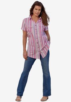 Seersucker Big Shirt, PURPLE SEERSUCKER STRIPE