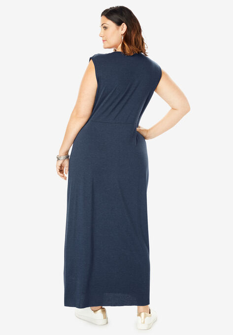 73383bd0402c Side-Knot Maxi Dress with High-Low Hem| Plus Size Maxi Dresses ...