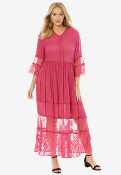 Rayon Crinkle Dress, RASPBERRY, hi-res