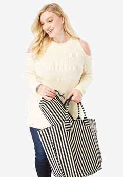 2-Piece Tote Set, BLACK STRIPE, hi-res