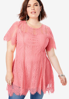 Lace Flutter Tunic with Handkerchief Hem, CORAL BLUSH