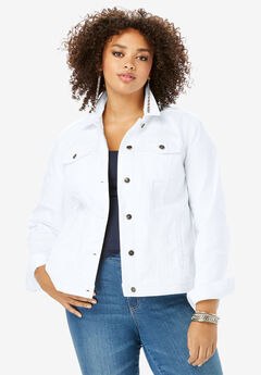 Essential Denim Jacket, WHITE