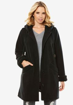 Hooded Button-Front Sherpa Coat, BLACK, hi-res