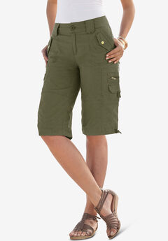 Cargo Shorts with Adjustable Bungee Hem, DARK OLIVE GREEN