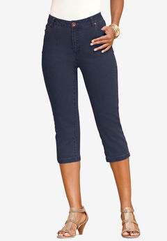 Denim Capri with Invisible Stretch®, DARK WASH