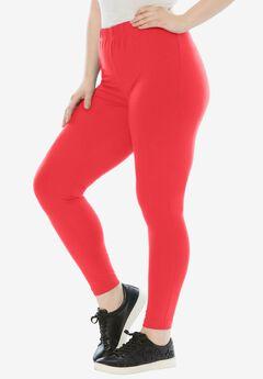 Ankle-Length Stretch Legging, CORAL RED, hi-res