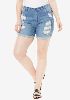 Distressed Shorts by Denim 24/7®, LIGHT STONEWASH, hi-res