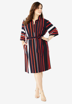 Belted Shirtdress with Pockets, MULTI STRIPE PRINT