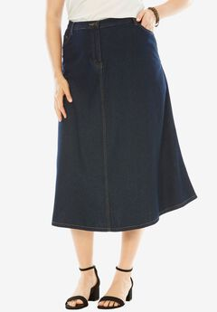 Denim A-line Skirt, INDIGO, hi-res