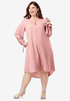 Tie-Sleeve Trapeze Dress with High-Low Hem, SOFT MAUVE