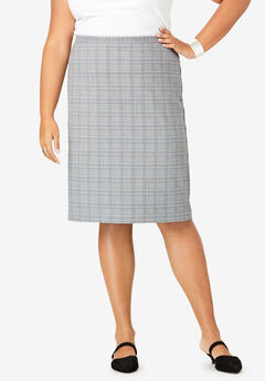 Suiting Pencil Skirt, GRAY PLAID