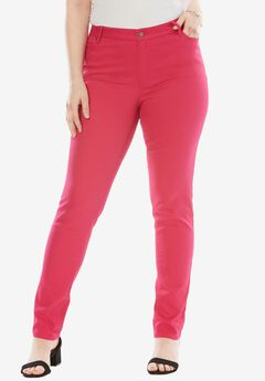 Straight Leg Jean with Invisible Stretch® by Denim 24/7®, RASPBERRY PINK, hi-res