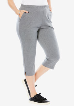 Soft Knit Capri Pant, MEDIUM HEATHER GREY
