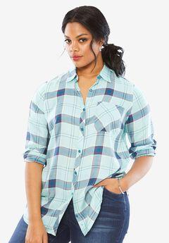 Plaid Shirt, PASTEL TURQUOISE PLAID, hi-res