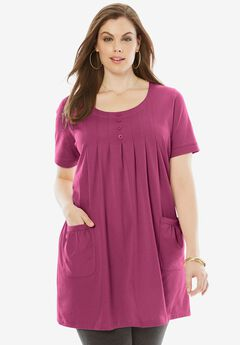 Two-Pocket Trapeze Tunic, RUBY BERRY, hi-res