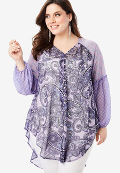 Sheer V-Neck Tunic with High-Low Hem, LILAC PAISLEY