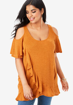 Cold-Shoulder Ruffle Tunic with Flutter Sleeves,