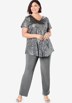 Sequin Tunic & Pant Set, SLATE