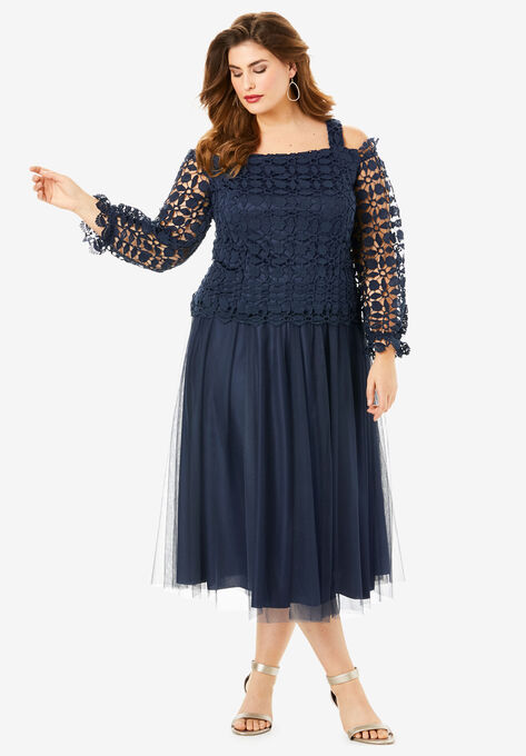 Lace Overlay Dress with Cold-Shoulder Detail| Plus Size ...