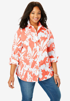 Long-Sleeve Kate Shirt, CORAL WHITE FLORAL