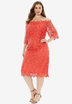 Off -The-Shoulder Lace Dress, SUNSET CORAL, hi-res
