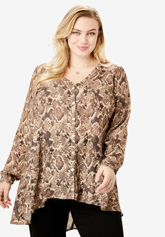 Y-Neck Swing Tunic, BROWN SNAKE