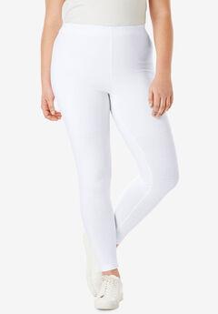 Ankle-Length Stretch Legging, WHITE, hi-res