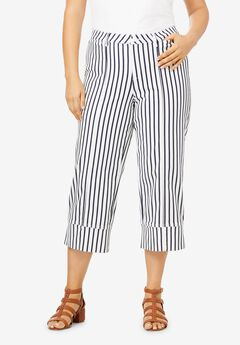 Crop Stretch Chino Pant, NAVY WHITE STRIPE
