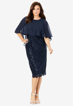 Lace Dress with Capelet, NAVY