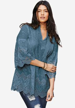 Pleated Eyelet Tunic, ANTIQUE BLUE, hi-res