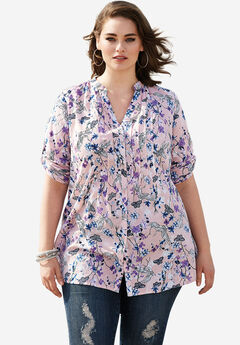 English Floral Tunic with Pintucks, PALE BLUSH PRINT, hi-res