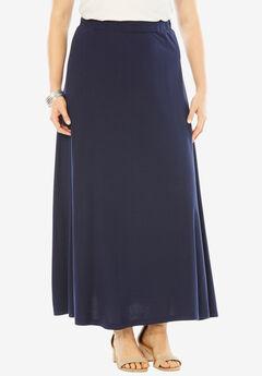 Knit Maxi Skirt, NAVY