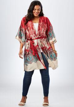 Printed Satin Kimono, CRIMSON BORDER PRINT, hi-res