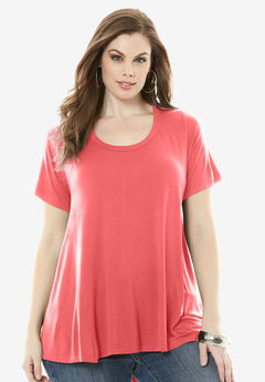 Drape Trapeze Tee, SUNSET CORAL, hi-res