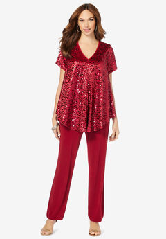 Sequin Tunic & Pant Set, CLASSIC RED