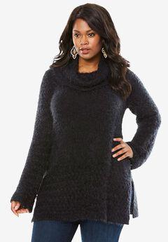 Eyelash Cowl Neck Sweater, BLACK, hi-res