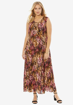 A-Line Crinkle Maxi Dress, RUBY ROSE ABSTRACT ANIMAL, hi-res
